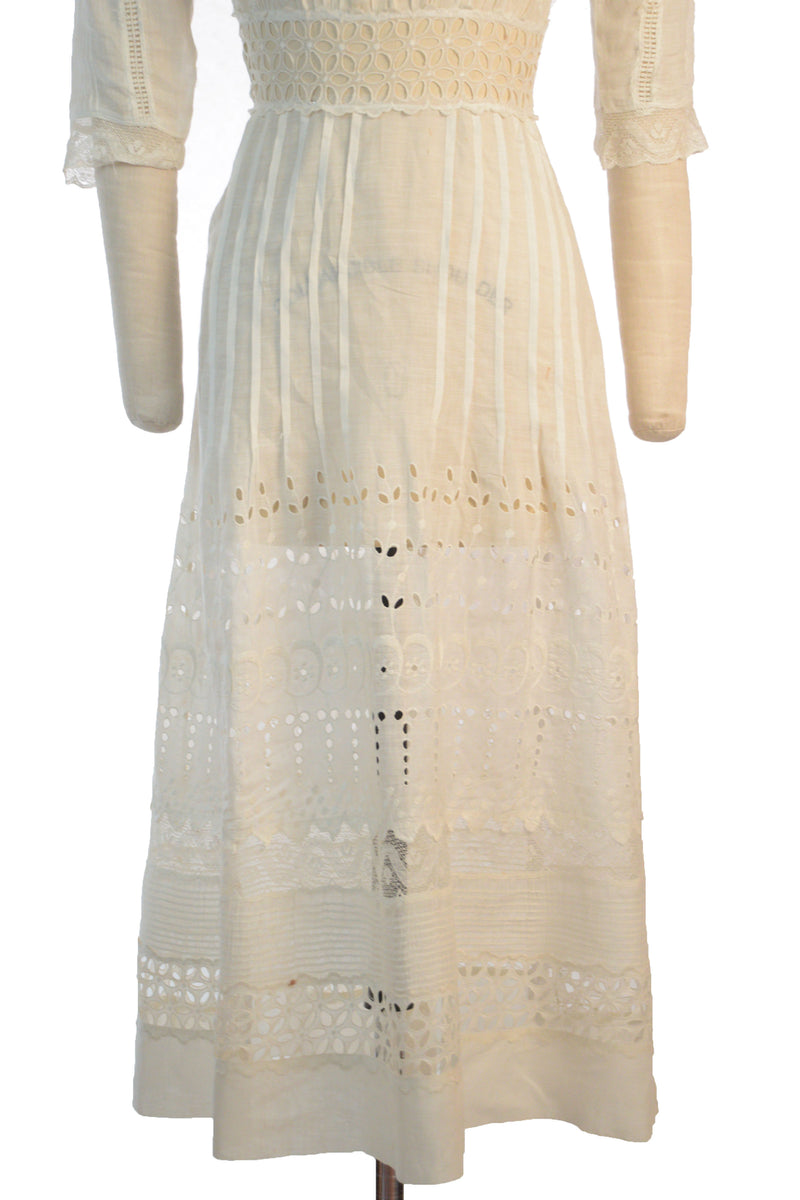Gorgeous 1910s Eyelet and Mixed Lace Cotton Summer Dress c. 1910-1911