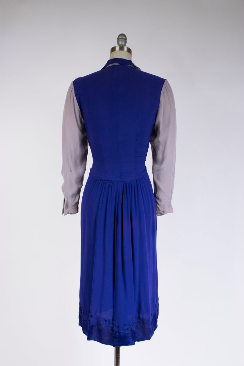 Delicious 1940s Homemade Colorblock Dress Made of Rayon Charmeuse Crepe