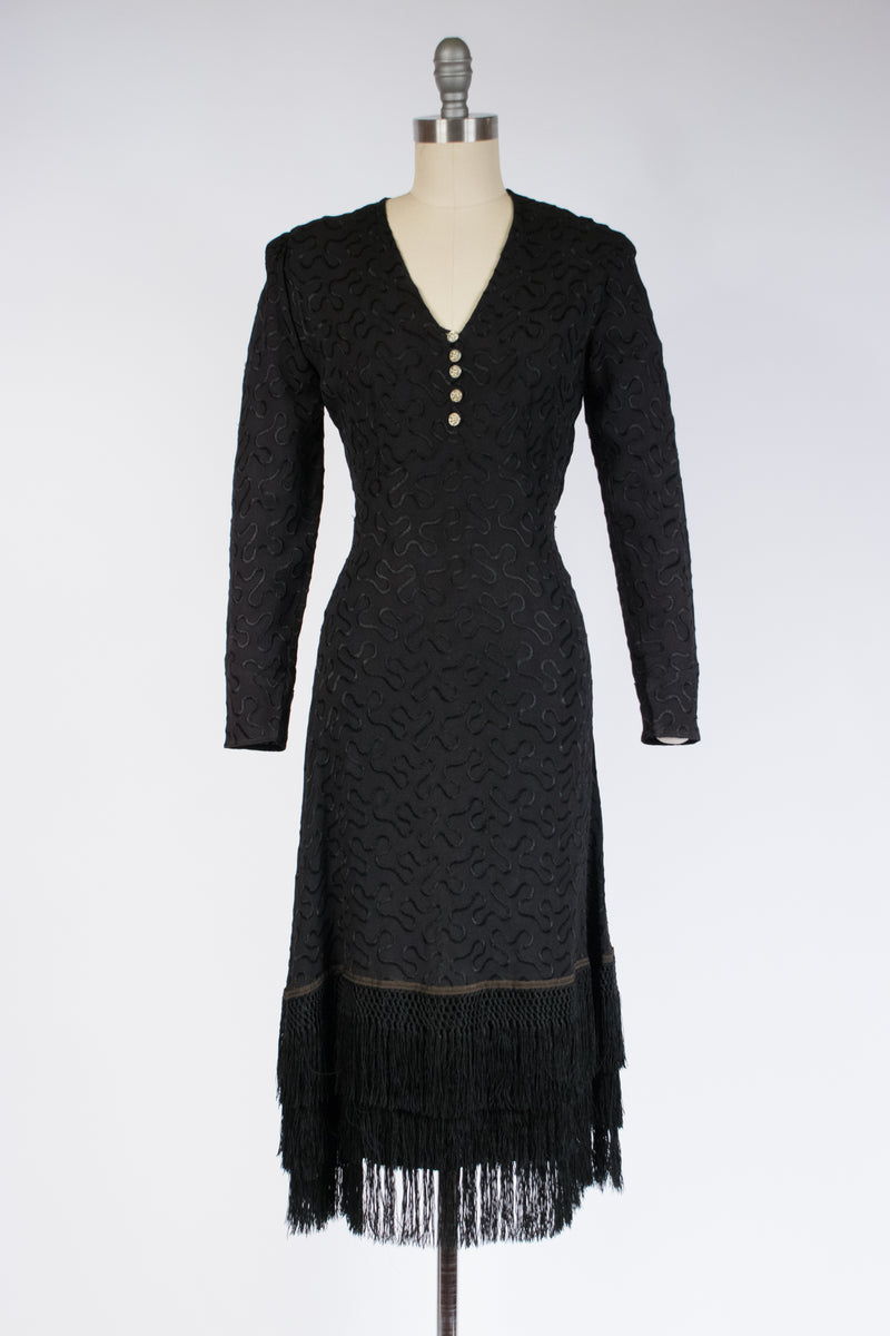 Elegant 1930s Embroidered Crepe Cocktail Dress with Piano Shawl Fringe Trim