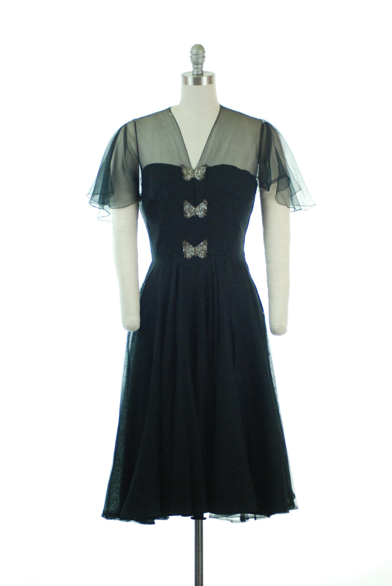 Romantic 1950s Floating Chiffon Cocktail Dress with Sheer Bodice and Sleeves