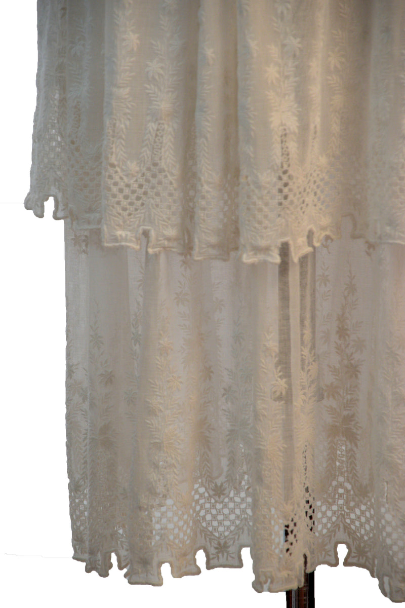 Gorgeous 1910s Embroidered Cotton Mull Summer Dress with Crenellated Hem and Openwork