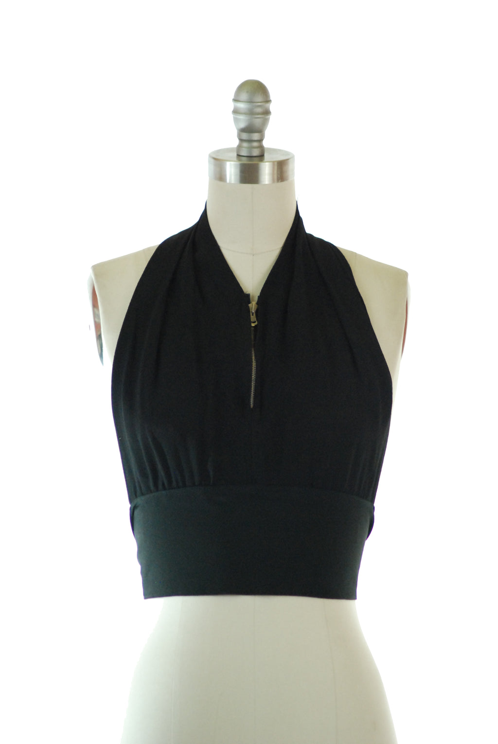 Sexy 1930s Tie-Style Zip Front Halter Top in Black Rayon Crepe