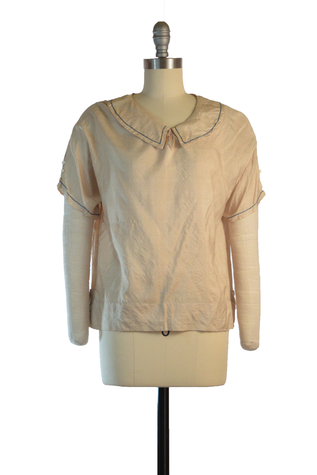 Cute 1920s Raw Silk Middy Blouse with Blue Trim and Button Accents