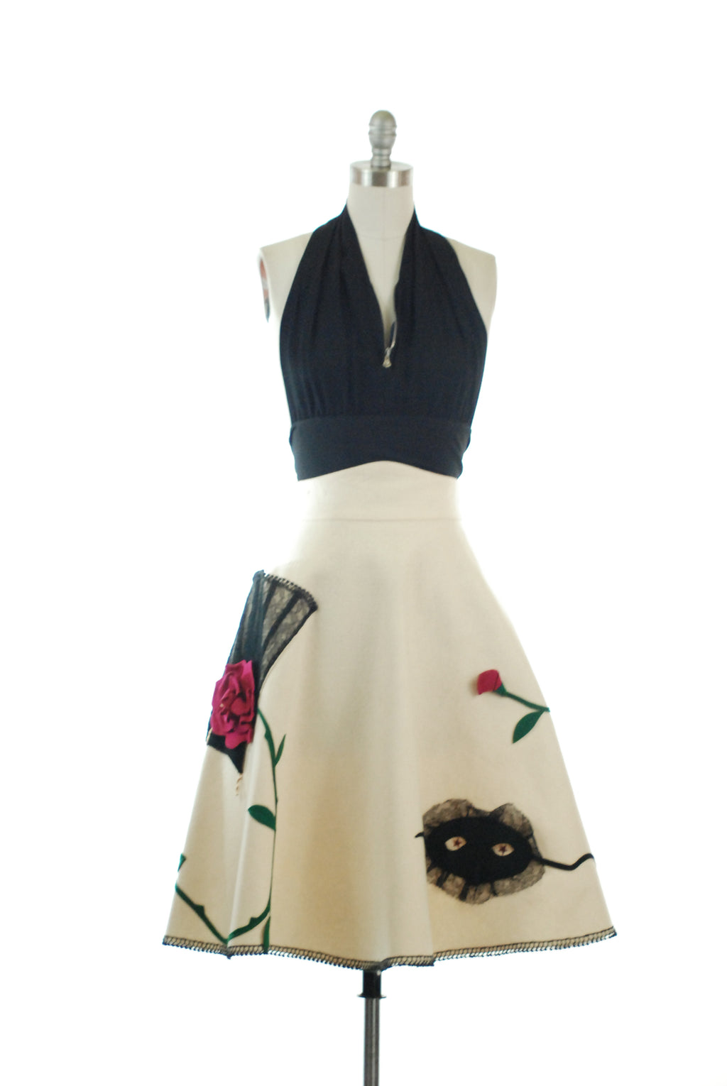 Exceptional 1950s Novelty Skirt in Appliqued Wool Felt with Masquerade Theme by Marguerite of California Poodle Skirt