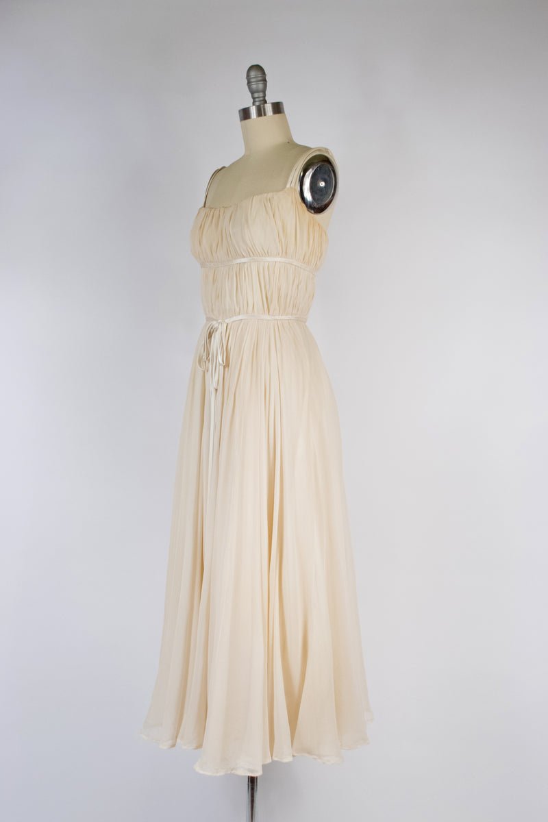 Romantic c. Early 1960s PIERRE BALMAIN Evening or Wedding Dress in Ivory Silk Chiffon