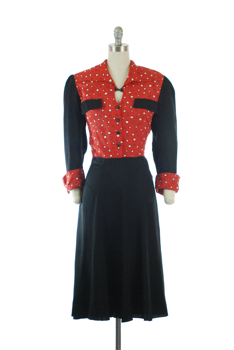 Saucy 1940s Colorblock Day Dress in Ruby Red and Black