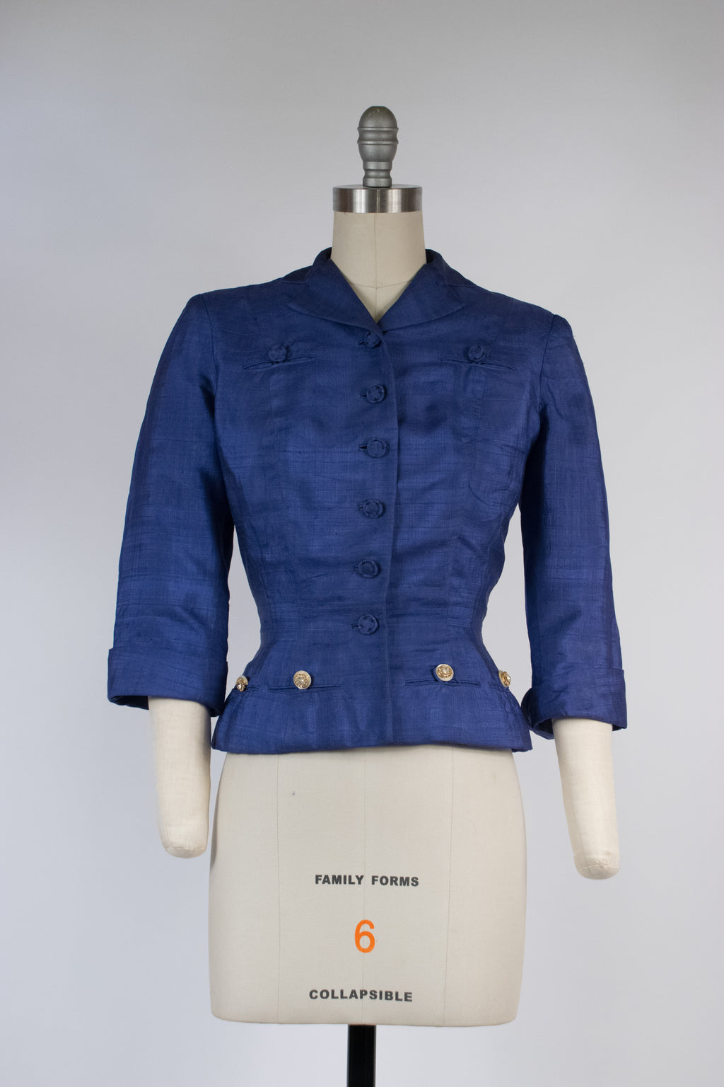 Lustrous 1950s Hattie Carnegie Nipped Waist Jacket of Royal Blue Silk