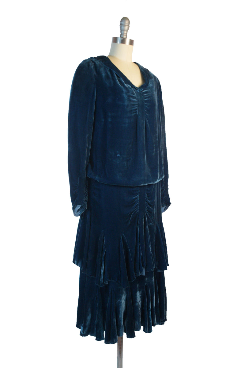 Vibrant 1920s Cobalt Blue Silk Velvet Drop Waist Dress with Tiered Skirt and Faux Hood