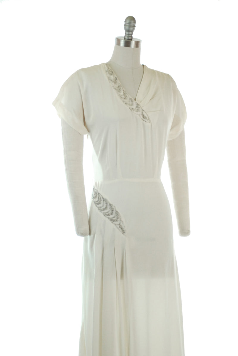 Beautifully Draped 1940s Ivory Rayon Crepe Wedding or Evening Gown with Asymmetric Beading