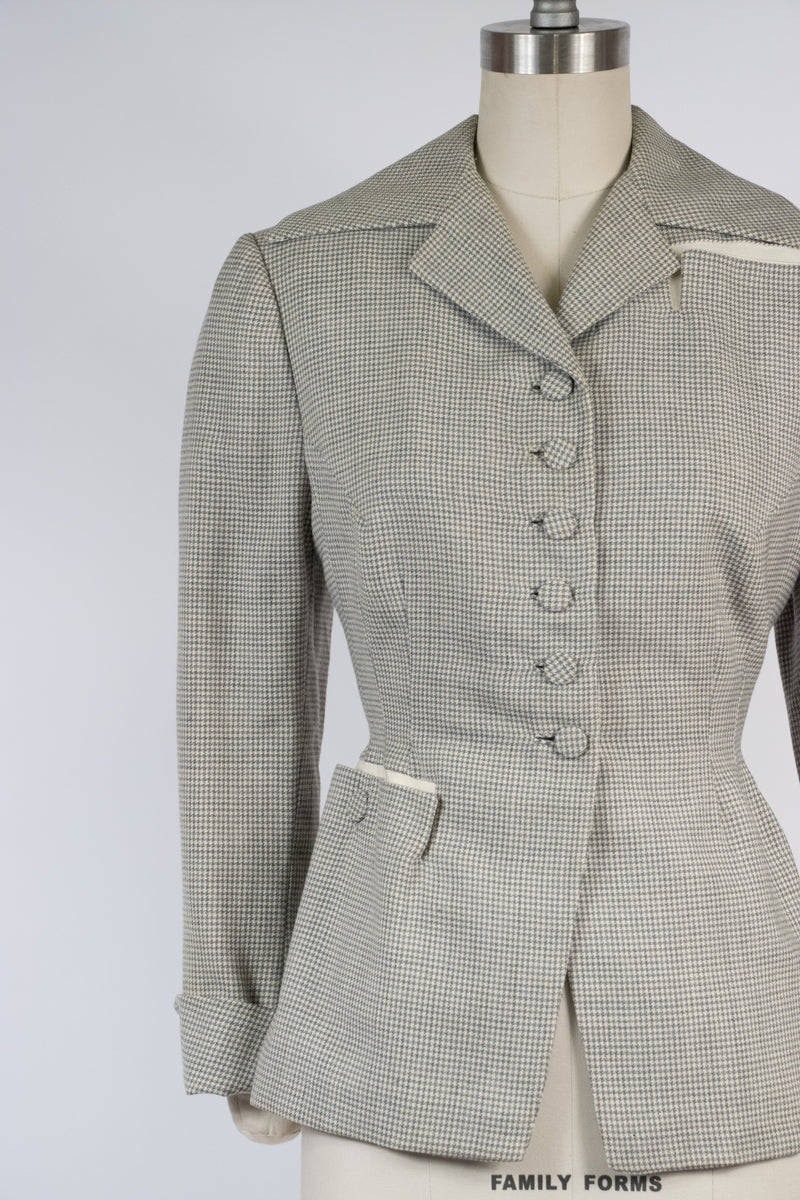 Tailored 1950s Lilli Ann Jacket in Grey and White Houndstooth Wool with Asymmetric Details