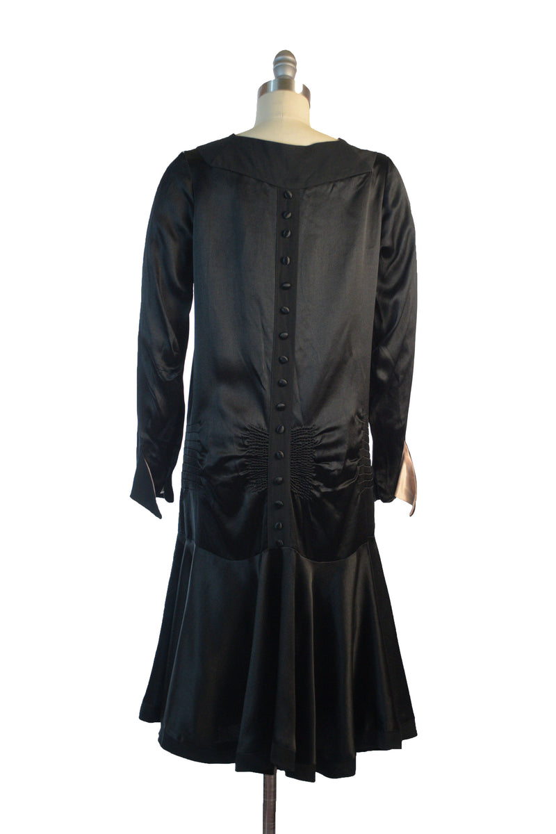 Classic 20s Dress of Silk Charmeuse and Crepe de Chine Day Dress with Drop Waist and Necktie