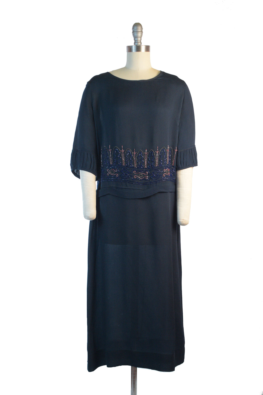 Lovely Early 1920s Navy Blue Silk Crepe Day Dress with Beaded Bodice and Slightly Dropped Waist