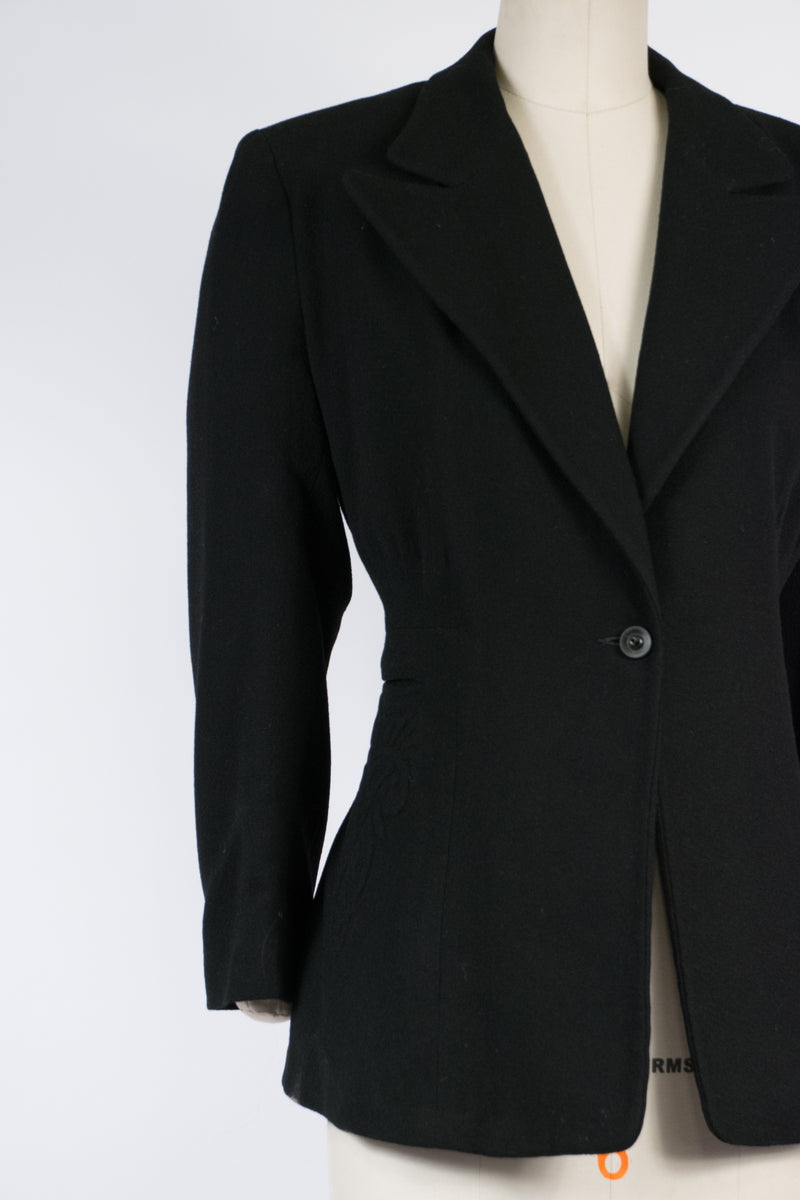 Gorgeous Late 1930s or Early 1940s Volup Suit Jacket with Trapunto Hip Detail