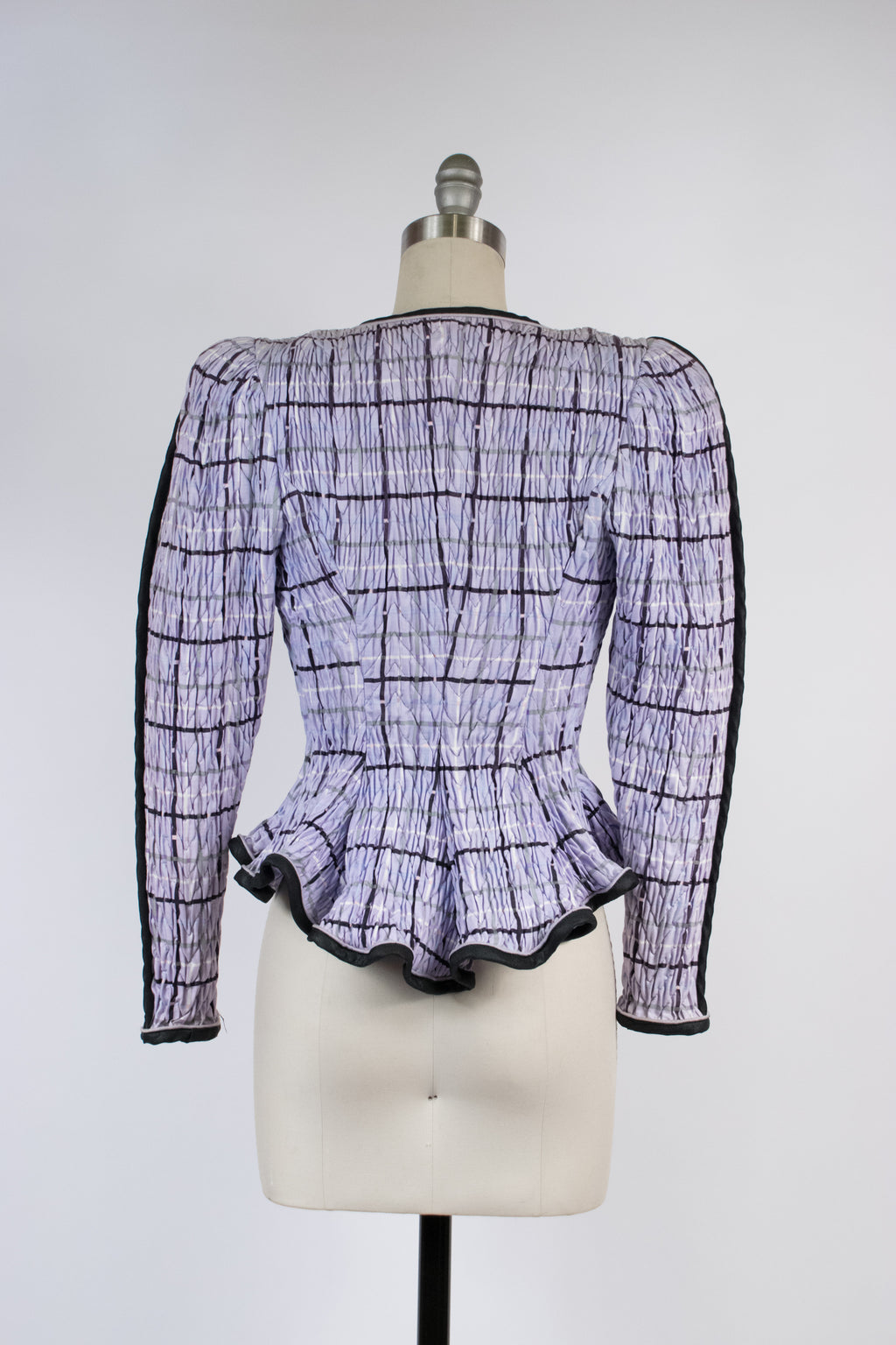 Killer 1980s Victorian/1940s Revival Elastic Shirred Plaid Peplum Blouse