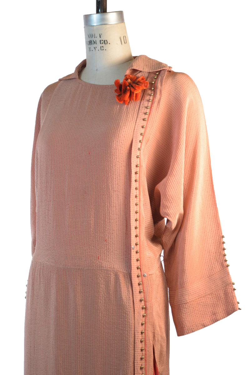 Rare Late 1910s/Early 1920s Dolman Sleeve Dress with Asymmetric Detail and Pleated Inset Silk Drape, As Is