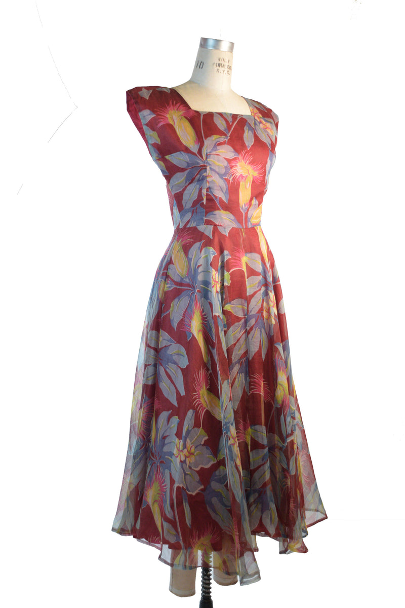 Rare 1950s Novelty Print Wiggle Dress Made of 1940s Silk Border Print with Matching Vest