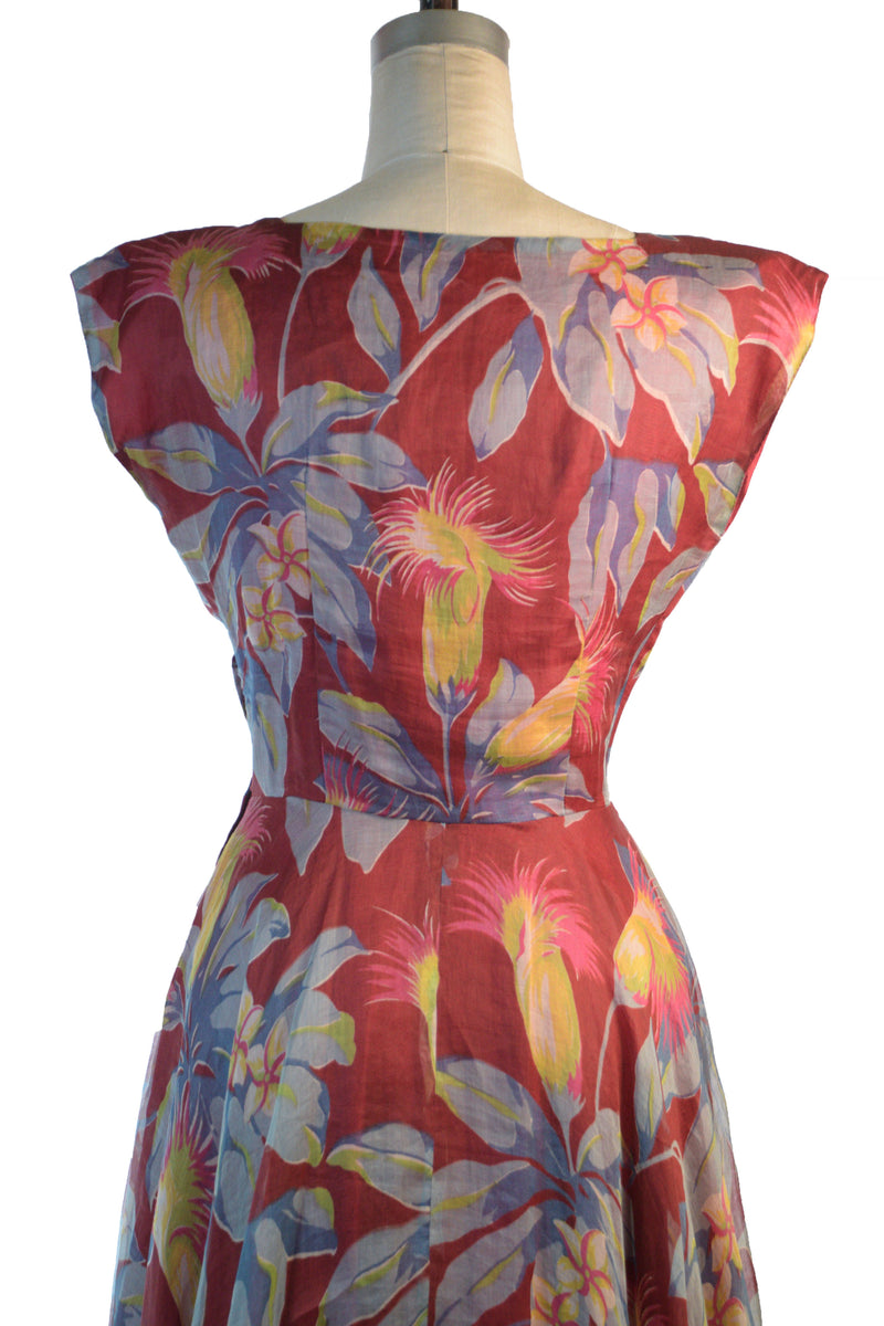 Wonderfully Bold Late 1940s Tropical printed Dress in Crimson Organza with Chartruese Floral