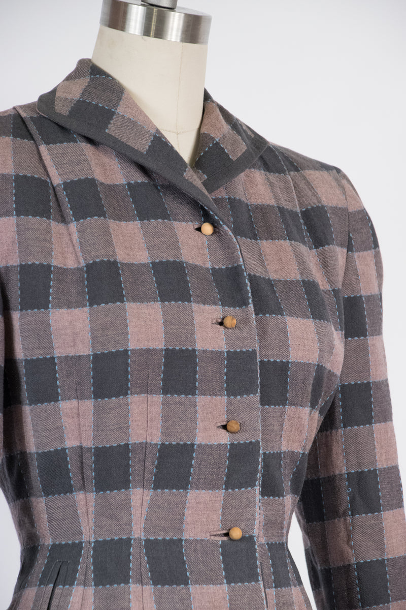 Gorgeous 1950s Pink and Grey Plaid with Nipped Waist and Blue Accents