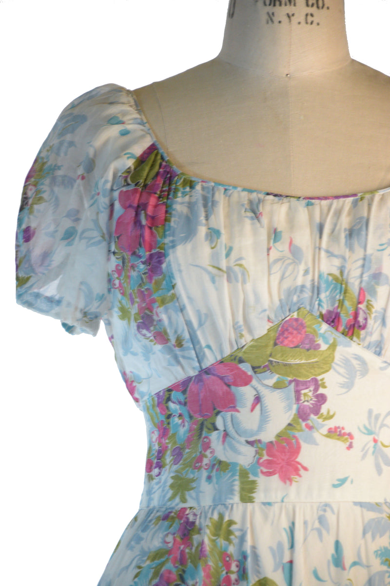 Fantastic 1940s Fully Lined Sheer Cotton Summer Gown with Ruched Bust and Floral Bouquet Print