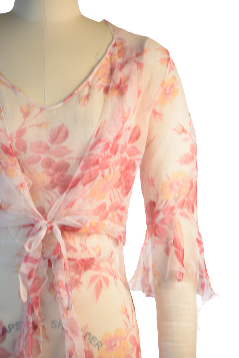 Diaphonous 1930s Two Piece Silk Chiffon Summer Dress with Matching Jacket Featuring Dogwood Floral Print