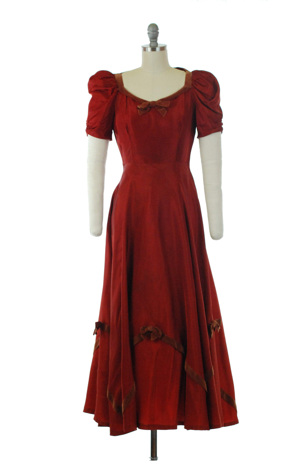 Elegant 1930s Rust Taffeta Gown with Copper Velveteen Trim