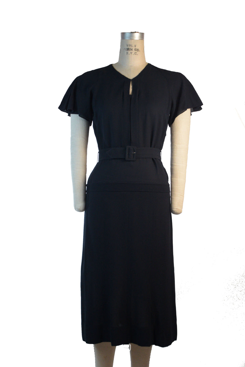 Rare 1930s c. 1935 Two Piece Dress Set with Belt NRA and FOGA Labels in Navy Crepe