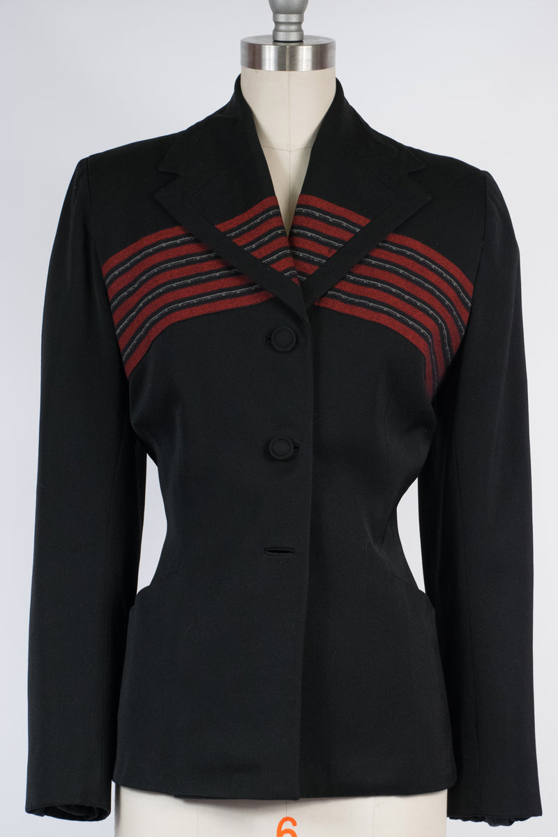 Bold 1950s Lilli Ann Suit Jacket in Black with Woven Red Chevron Accent