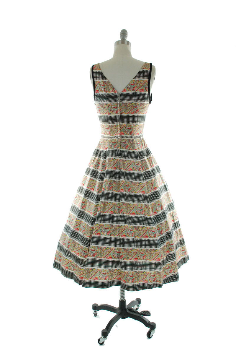 Gorgeous 1950s  Multicolored Cotton Sundress with Stripes and Bows