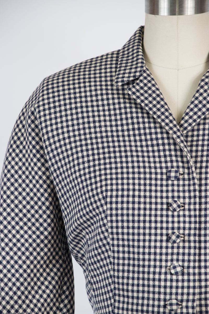 Sporty 1950s Navy Blue and White Checkered Wool Jacket with Vented Back