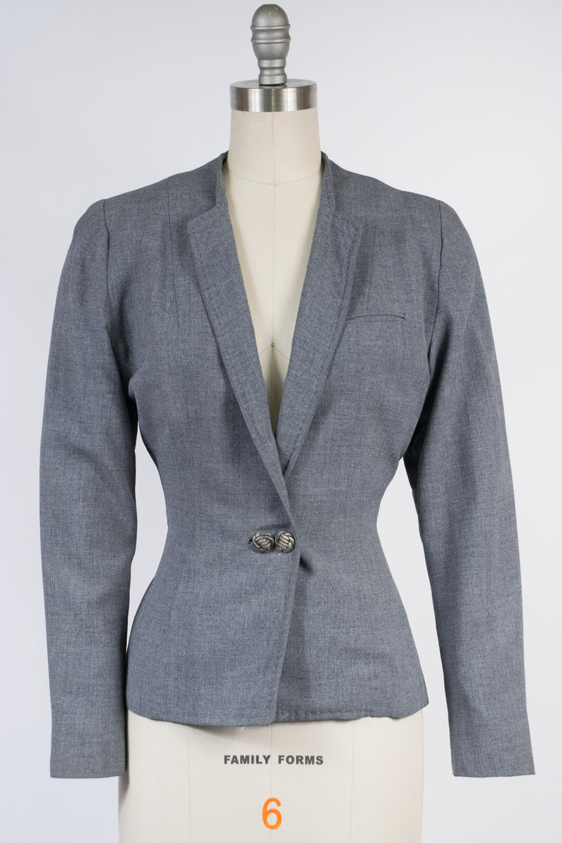 Smart 1940s Versatogs Sportswear Jacket in Heathered Grey with Double Buttons
