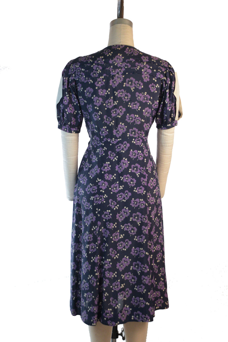 Lush 1930s Cold Rayon Day Dress with Pansy Print and Open Sleeves