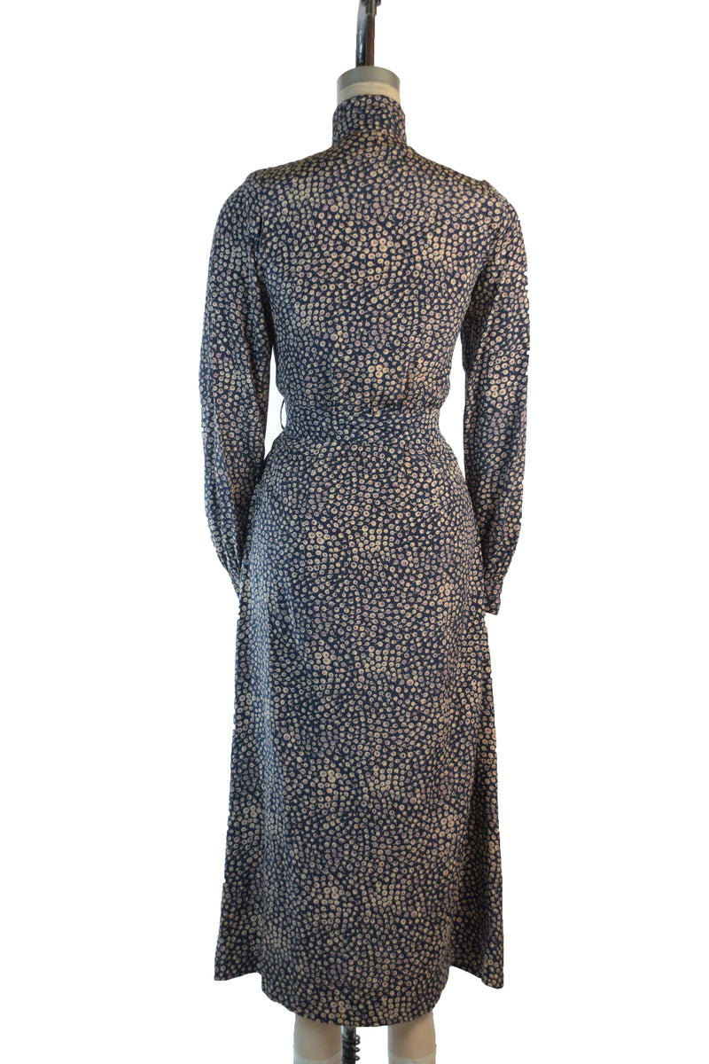 Sophisticated 1930s Silk Dress with High Neckline and Pleated Bodice