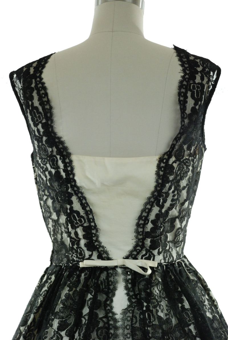 1950s Dress in Black Lace and White Cotton Colorblock by Minx Modes