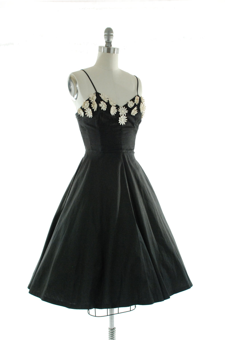 Fantastic 1950s Cotton Sundress in Black with Studded 3D Daisies Emil of California
