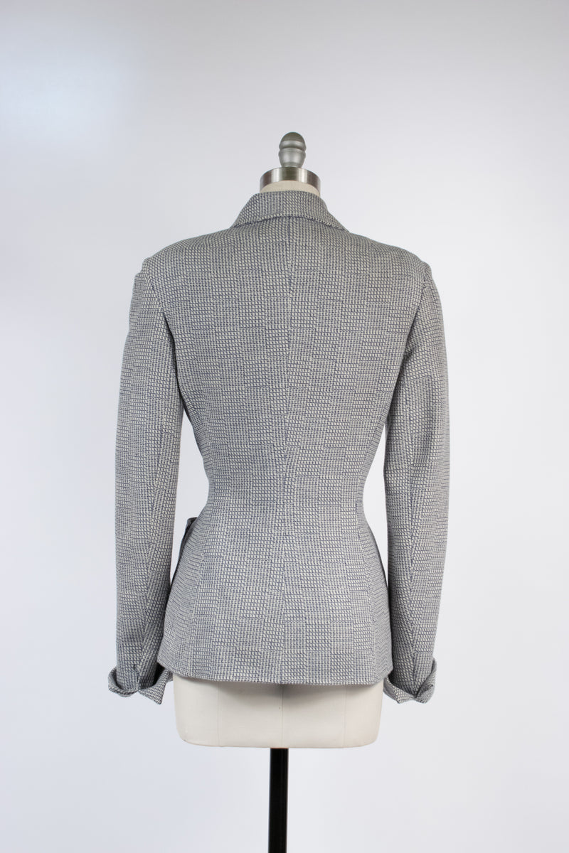 Curvaceous 1950s Tailored Tweed Jacket with Fantastic White and Blue Checked Weave