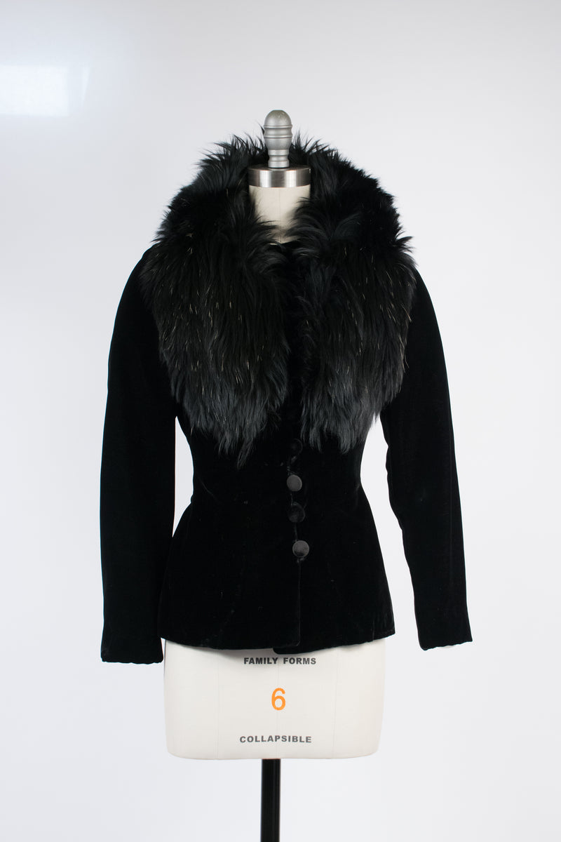Exceptional 1910s Retailored c. 1930s Velvet Coat with Massive Fur Collar