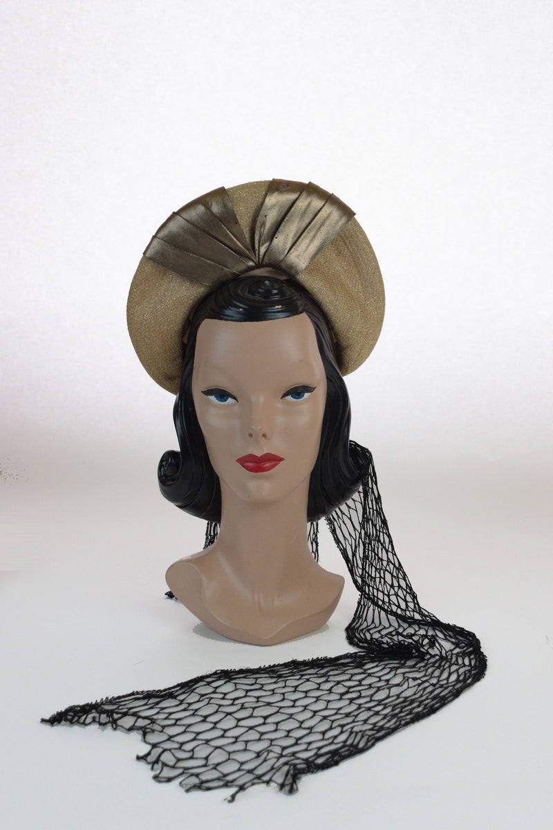 Exceptional and Rare 1940s Metallic Gold Halo Hat with Dramatic Veil Drape