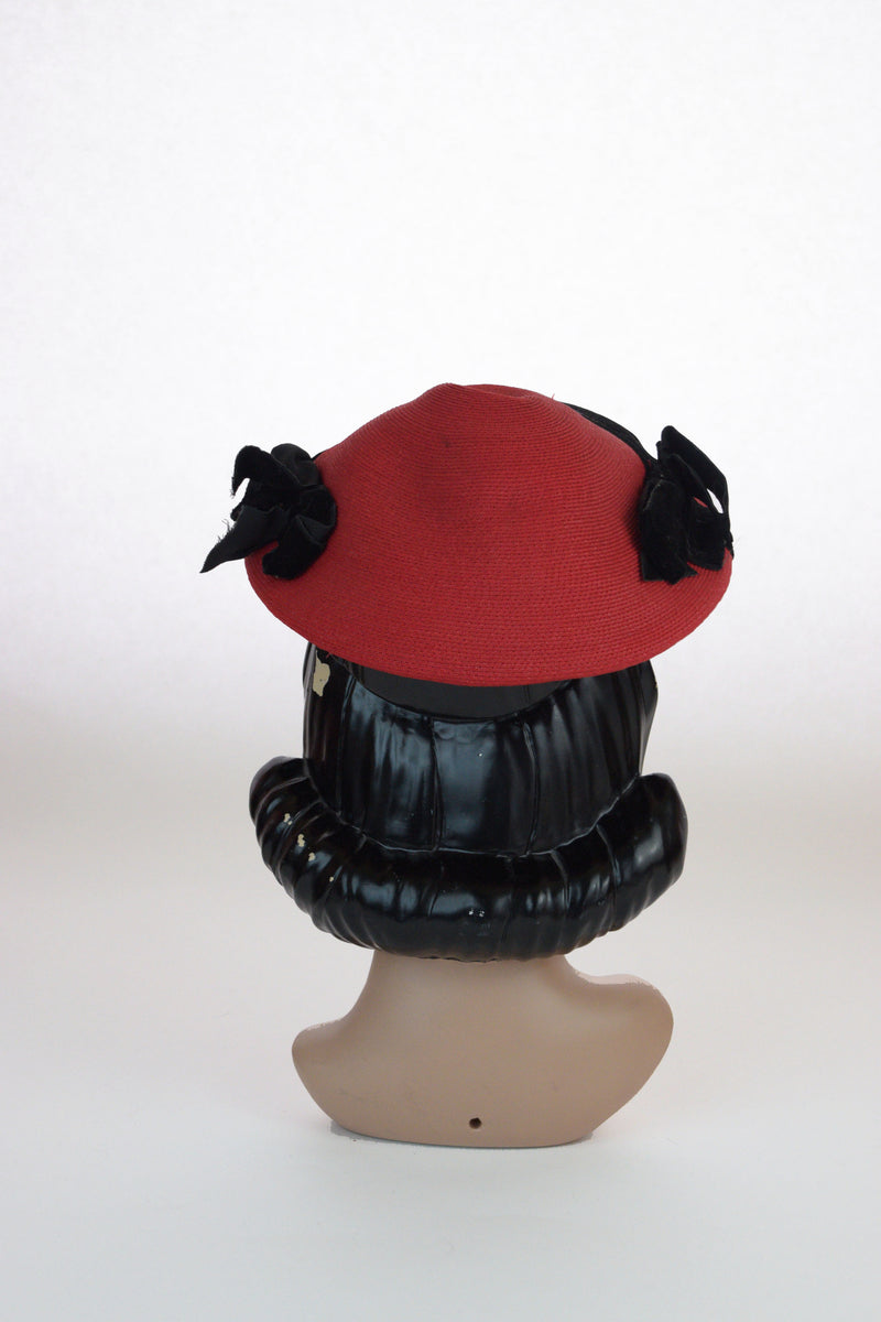 Saucy 1950 Hat in Red Synthetic Straw with Black Velvet Trim