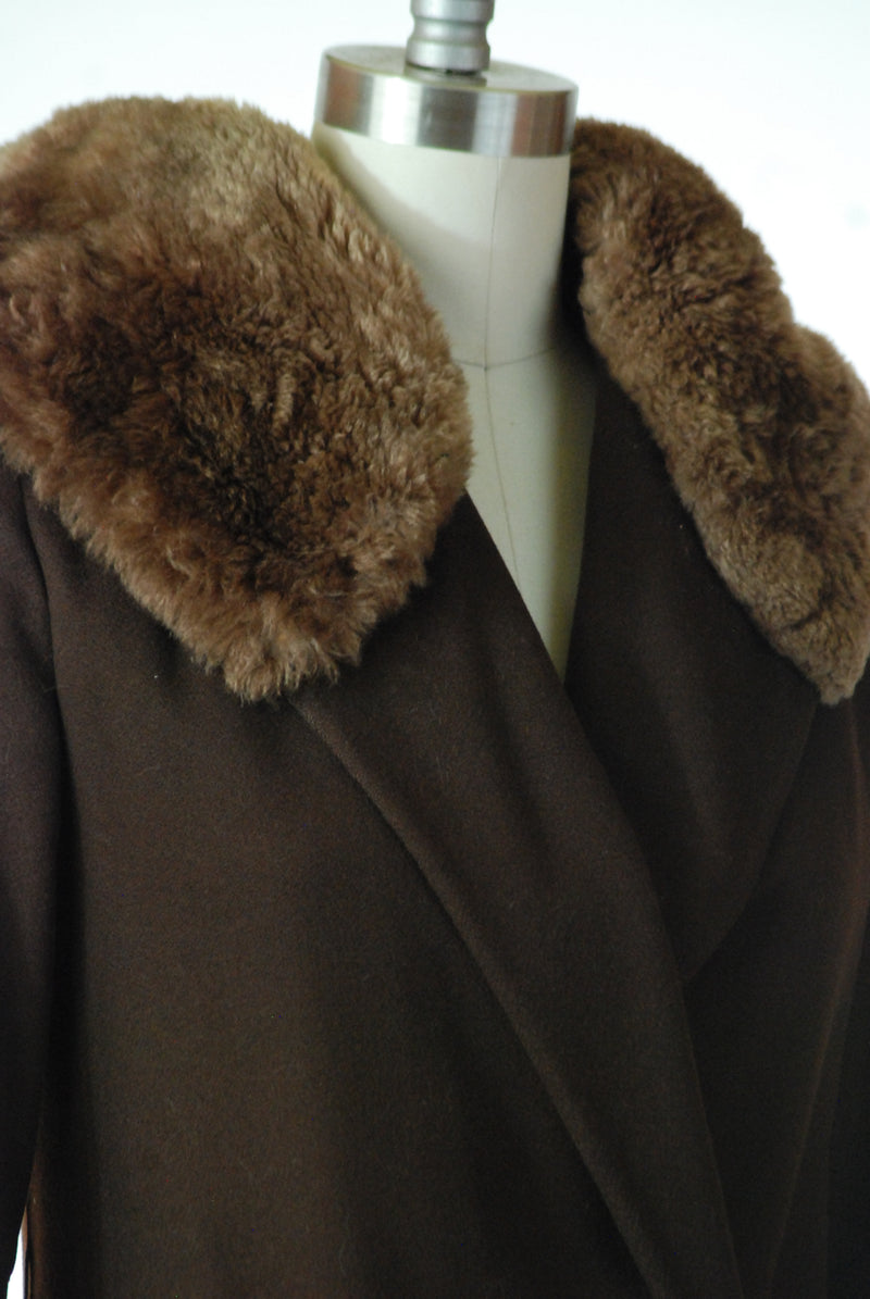 Glamorous 1930s Wool Coat with Asymmetrical Hip Button and Sheared Beaver Fur Collar and Cuffs