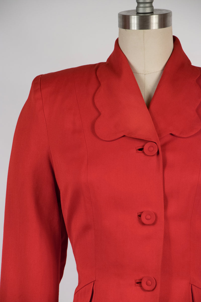 Lovely 1940s Cherry Red Gabardine Sportcoat with Scalloped Accents As-Is
