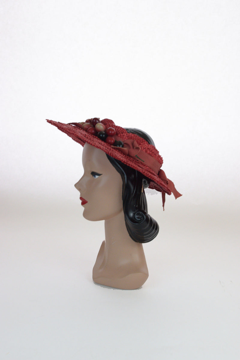 Charming 1940s Open Crown Red Straw Sunhat with Cherries