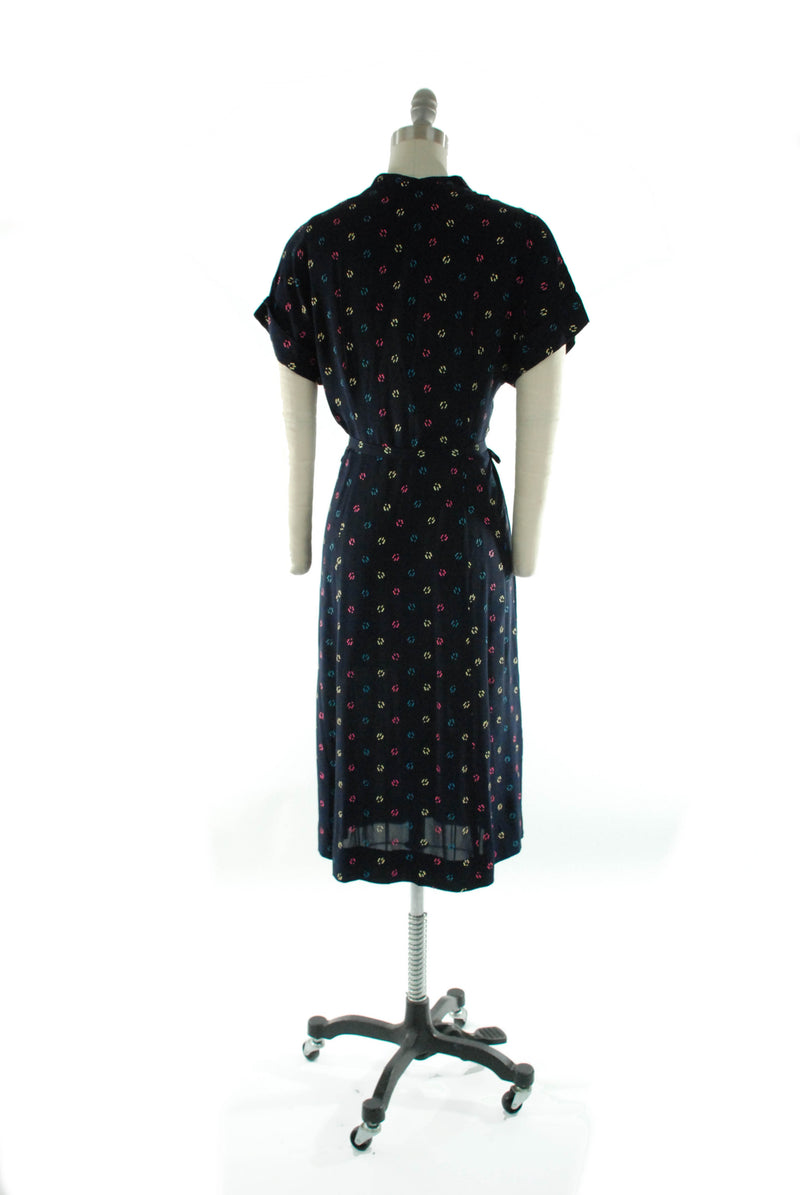 Cute 1940s Navy Blue Day Dress with Pink, Yellow and Blue Screen Print
