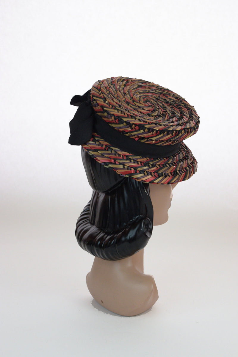 Phenomenal 1940s Rainbow Colored Straw Boater Style Tilt by Knox