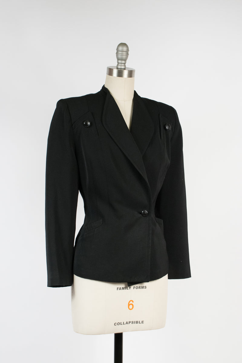 Bold Post War 40s Black Wool Gabardine Jacket with Massive Shoulderpads