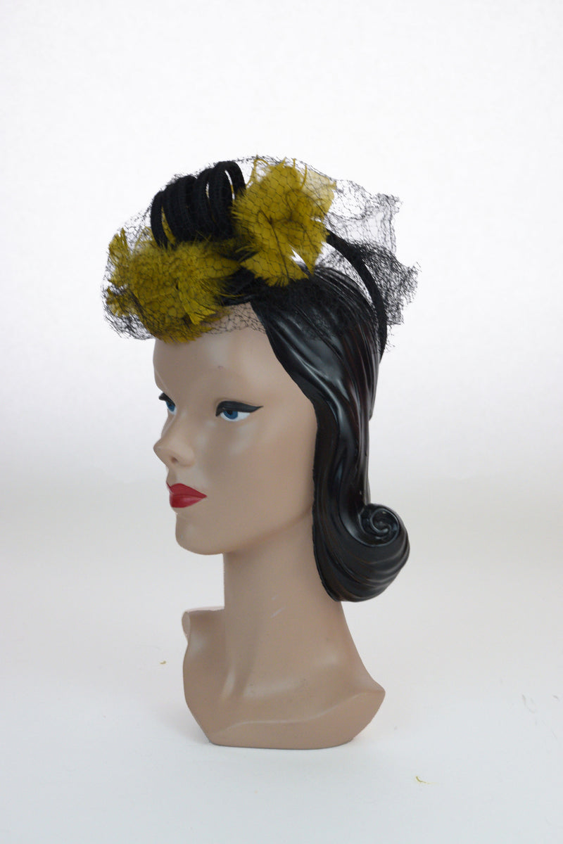 Bright 1940s Chartreuse and Black Statement Tilt Hat with Veiling