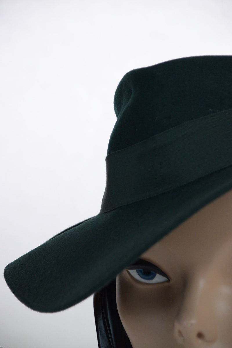 Quintessential 1940s Deep Forest Green Fedora with Grosgrain Trim