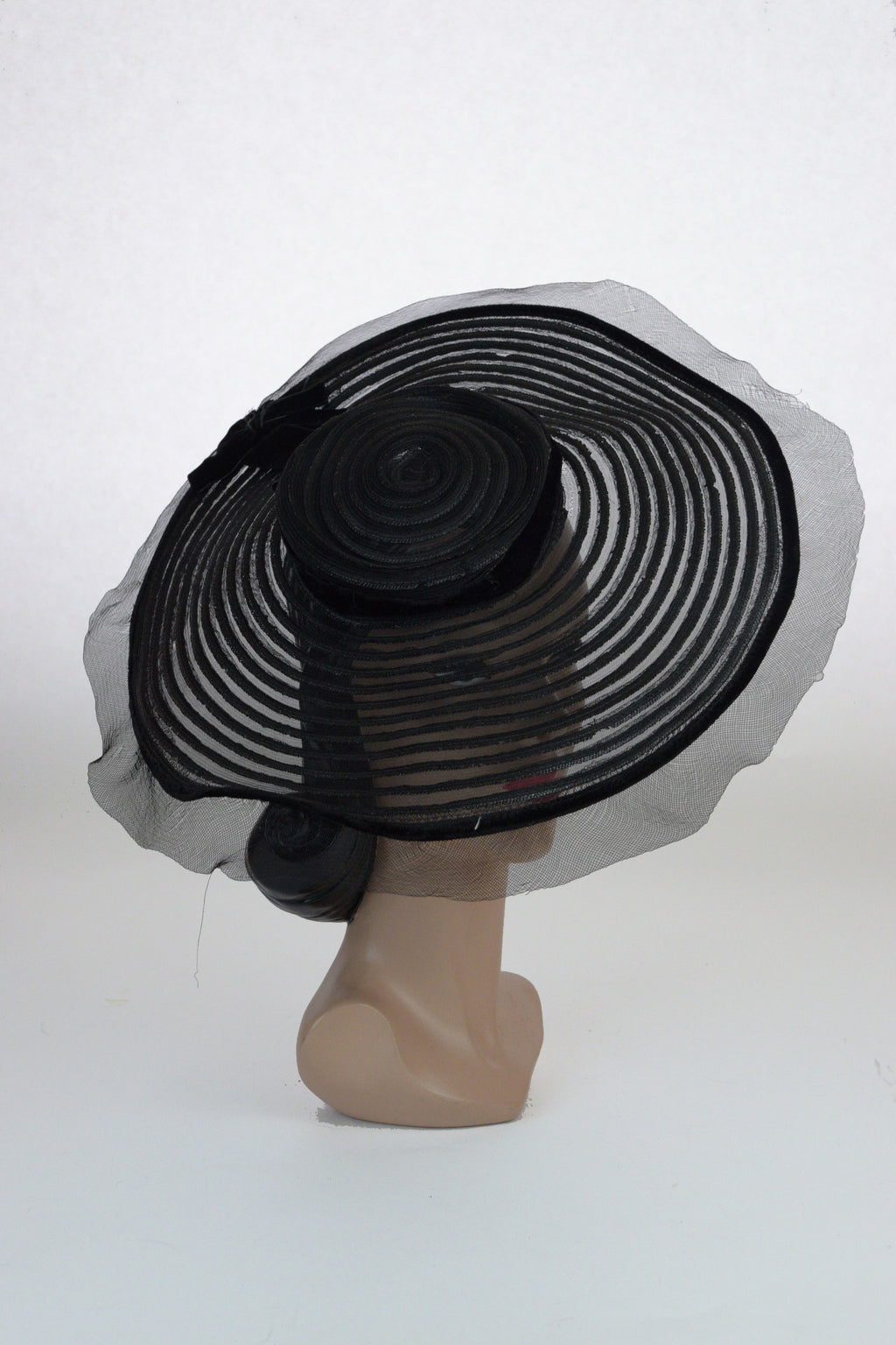 Gorgeous 1930s Sheer Summer Goth Wide Brimmmed Sunhat - a New York Creation