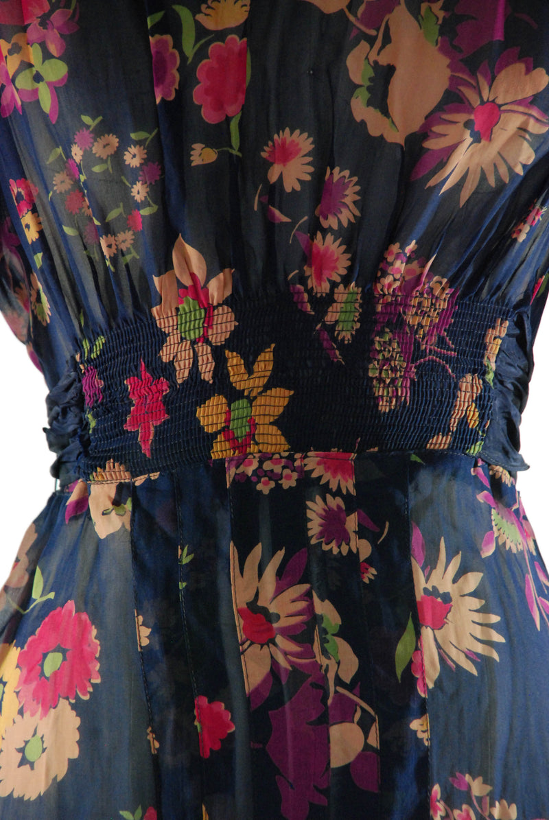 Late 1930s Ultra Sheer  Chiffon Floral Dress in Blue with Yellow, Pink, Purple and Green Flowers