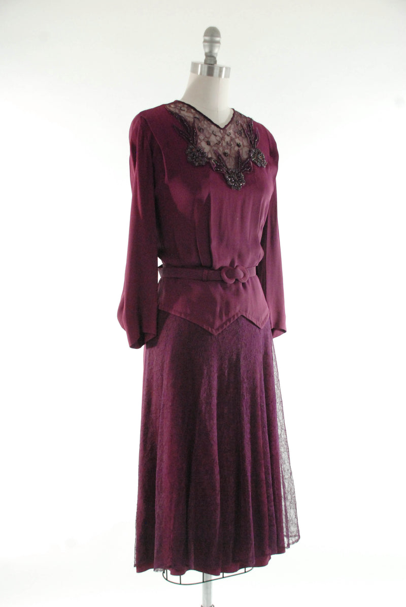 1940s Plum Colored Cocktail Dress in Rayon Crepe with Beaded Mesh Neckline and Lace Skirt