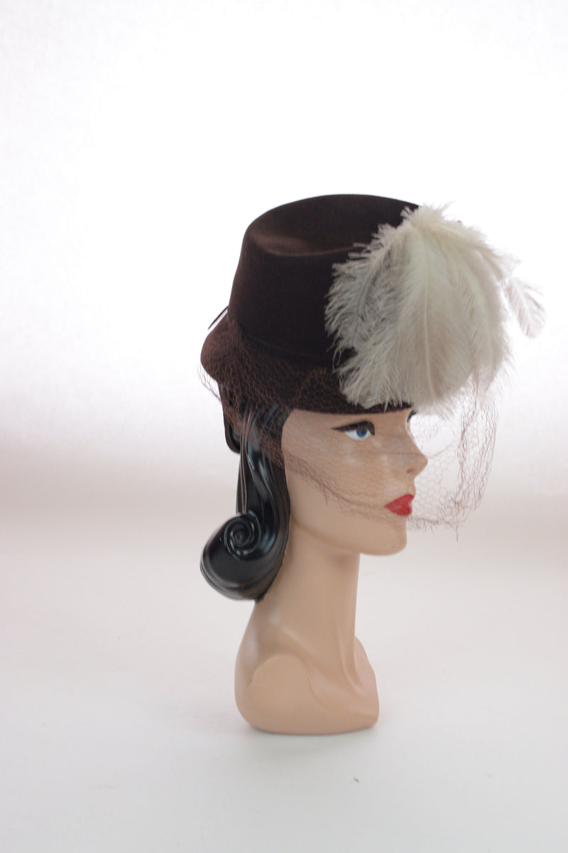 High Drama 1940s Brown Felt Tilt Hat with Huge Feather Spray